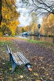 Bench in autumn park Royalty Free Stock Photo