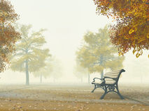 Bench on autumn path Royalty Free Stock Photography