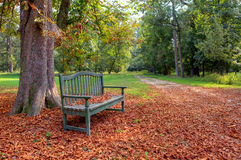 Bench in the autumnal park. Royalty Free Stock Images