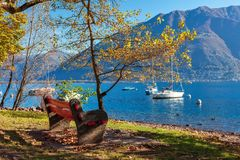 Bench among autumnal trees on the shore of Lake Maggiore. stock image