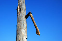 Bench axe in the sky backgraund Royalty Free Stock Photography