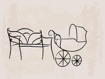 Bench and baby buggy. Vector illustration stock illustration