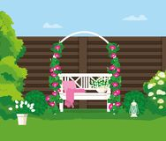 A bench in the backyard. Vector illustration is drawn by shape royalty free illustration