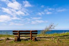 Bench on the Baltic Sea coast Stock Photos