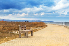 Bench at Baltic sea pathway in Gdansk Royalty Free Stock Photo