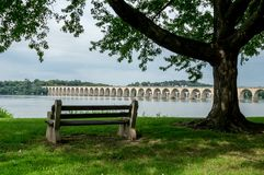 Bench on the Bank of the River. A bench sitting under a shade tree on the bank of the Susquehanna River in Harrisburg, Pennsylvania royalty free stock photo