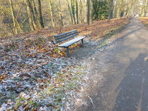 Bench. At the banks of river ruhr essen Stock Photography