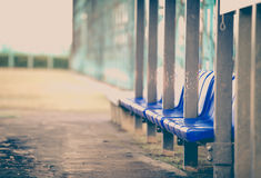 Bench at baseball field Stock Image