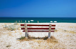 Bench on the beach Royalty Free Stock Photography