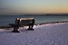 A bench on the beach.Aberdeen Beach, Scotland, UK stock photos