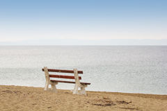Bench on the Beach Stock Images
