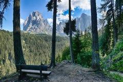 Bench and beautiful mountains panorama Stock Photos