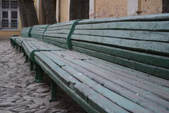 The bench. Benches and cobblestone near the museum. Good background Royalty Free Stock Images