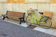 Bench and bicycle, vintage style Stock Photography