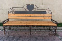 Bench with big heart contour. Romantic, wood, bench Royalty Free Stock Photography