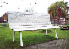 Bench. Big white wood plank bench Royalty Free Stock Photography