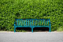 Bench. Blue bench on the sidewalk in front of a green fence Stock Photo