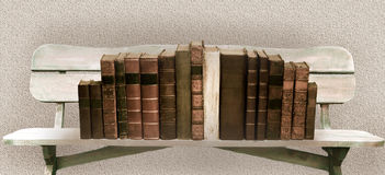 Bench and books. Books on a wooden shelf in the form of wooden benches Stock Images