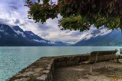 Bench at Brienz lake, Switzerland Royalty Free Stock Images