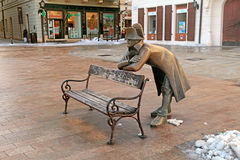 Bench with bronze sculpture of Napoleon, Bratislava, Slovakia Stock Photos