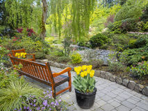 Bench in Butchart Gardens Stock Image