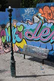A bench in calcada do Lavra street in Lisbon Royalty Free Stock Photo