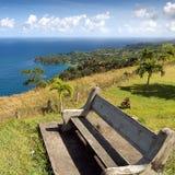Bench on Castara bay - Tobago island - Caribbean sea. Republic of Trinidad and Tobago - Bench on Castara bay - Tobago island - Caribbean sea royalty free stock image