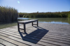 Bench casting shadow on wooden deck Royalty Free Stock Photography