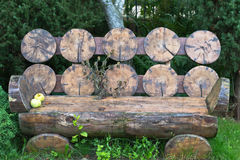 Bench from a cedar Stock Images