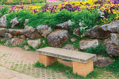 Bench cement in the garden. Bench cement in the garden, the royal agricultural Angkhangstation in chiangmai, North of Thailand Stock Image