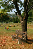 Bench. In the cemetery of hickory, pennsylvania, usa stock photography