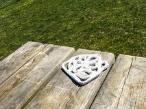 Bench and ceramic cup base. Wood royalty free stock photos