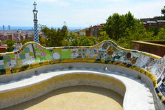 Bench with ceramics  in Park Guell Royalty Free Stock Image