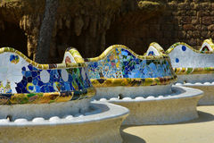 Bench with ceramics  in Park Guell Stock Image