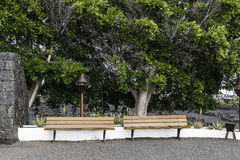 Bench. In Cesar Marique Foundation in Tahiche, Lanzarote, Canary Islands. Spain royalty free stock photo