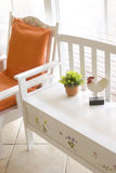 Bench and chair in white