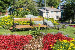 Bench in Charlottetown Garden. Wood Bench in a public garden in Charlottetown Nova Scotia Stock Images