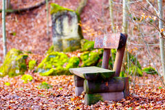 Bench in the city park Stock Photo