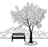 Bench in city park. Doodle landscape  illustration Stock Image