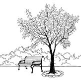 Bench in city park. Garden landscape. Nature skyline Stock Photography