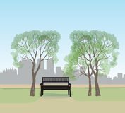 Bench in city park. landscape  illustration City skyline Royalty Free Stock Image