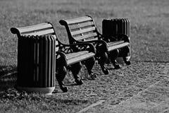 Bench in city park Stock Photos