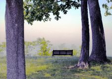 Lonely Bench. Bench on a cliff overlooking Lake Erie Stock Photography