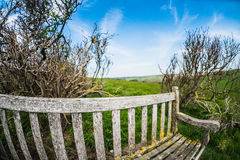 Bench on the cliffs froma fisheye Royalty Free Stock Image