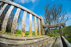 Bench on the cliffs froma fisheye royalty free stock images