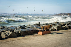Bench on the coast of Marmara Sea Stock Photos