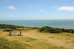 Bench on coastal path, Hastings Royalty Free Stock Photo