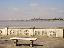 Bench at  the coastine. Bench at  the Buenos Aires coastine Royalty Free Stock Image