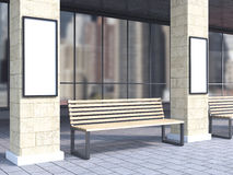 Bench between columns Royalty Free Stock Photography