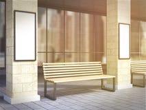 Bench between columns Stock Photo